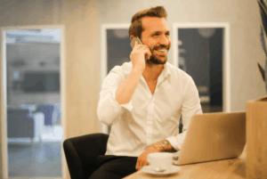 A man on a call